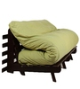 Double Futon Sofa Cum Bed with Mattress in Green Colour by ARRA