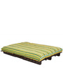 Double Futon Sofa Cum Bed with Mattress in Green Lines Colour by ARRA