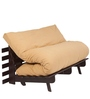 Double Futon Sofa Cum Bed with Mattress in Light Brown Colour by ARRA