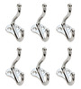 Doyours Chrome White Metal Multipurpose Hook - Set of 6
