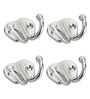 Doyours Designer Butterfly Stainless Steel & Metal Silver Multipurpose Hook - Set of 4