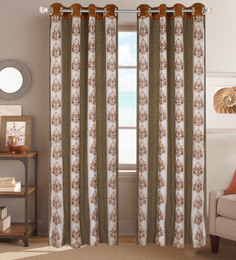 Dreamscape Beige Poly Cotton 48 X 84 Inch Floral Door Curtains - Set Of 2
