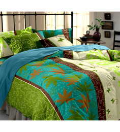Dreamscape Green Floral Double Bedsheet Set with 2 pillow covers -set of 3