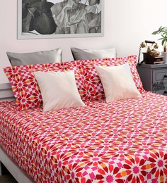 Dreamscape Red Cotton Queen Size Bed Sheet With 2 Pillow Covers