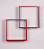 Dream Arts Red MDF Twin Square Wall Shelf