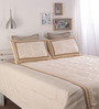Dreamscape Beige Poly Cotton Bed Cover - Set of 3