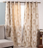 Dreamscape Beige Polyester 47 x 84 Inch Abstract Eyelet Door Curtain - Set of 2