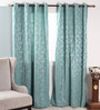 Dreamscape Blue Polyester 47 x 84 Inch Floral Eyelet Door Curtain - Set of 2
