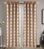 Dreamscape Brown Poly Cotton 48 x 84 Inch Floral Door Curtains - Set of 2