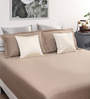 Dreamscape Brown Cotton Queen Bed Sheet with 2 Pillow Covers-Set of 3