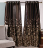 Dreamscape Coffee Polyester 47 x 84 Inch Abstract Eyelet Door Curtain - Set of 2
