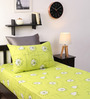 Dreamscape Green Cotton Floral Single Bed Sheet (with Pillow Cover) - Set of 2