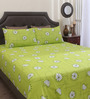 Dreamscape Green Cotton Queen Size Bed Sheet - Set of 3