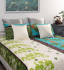 Dreamscape Green Cotton Floral Queen Bed Sheet (with 2 Pillow Covers)- Set of 3