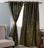 Dreamscape Green Polyester 47 x 84 Inch Abstract Eyelet Door Curtain - Set of 2