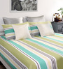 Dreamscape Green Cotton Queen Size Bed Sheet with 2 Pillow Covers-Set of 3