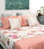 Dreamscape Pink Cotton Queen Size Bed Sheet with 2 Pillow Covers- Set of 3