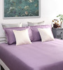 Dreamscape Violet Cotton Queen Size Bed Sheet with 2 Pillow Covers-Set of 3
