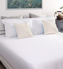 Dreamscape White Cotton Queen Size Bed Sheet with 2 Pillow Covers-Set of 3