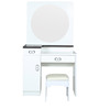 Dressing Table with Round Mirror in White Duco Paint by Parin
