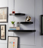 Driftingwood Black MDF Round Floating Wall Shelf - Set of 3