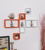 Driftingwood Orange & White MDF Cube & Rectangle Shape Wall Shelf - Set of 6