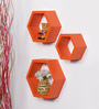 DriftingWood Orange MDF Hexagon Shape Wall Shelf - Set of 3