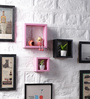 Calypso Set Of 3 Wall Shelve in Pink & Black by CasaCraft