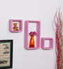 DriftingWood Pink MDF Cube & Rectangle Wall Shelf - Set of 3