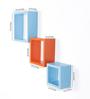 Driftingwood Sky Blue & Orange MDF Nesting Square Shape Wall Shelves - Set of 3