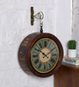 Ethnic Clock Makers Brown Solid Wood 15 x 6 x 15 Inch Recycled Vintage Wall Clock