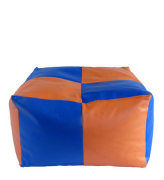 Dual Square pouffe with Beans in Orange N Blue Colour by Siwa Style