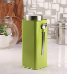 Dynore Green Stainless Steel Square Canister with Spoon- Set of 2