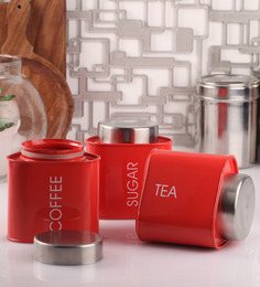 Dynamic Store Red Triangle 950 ML Tea, Coffee & Sugar Canister - Set Of 3
