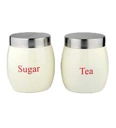 Dynamic Store Steel Round 1000 ML Cream Barrel Tea & Sugar Canister