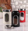 Dynore Multicolor Stainless Steel 800 ML Canister with Window - Set of 3