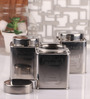 Dynore Chrome Steel Square 950 ML Tea, Coffee and Sugar Canister - Set of 3