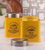 Dynore Half Deck Yellow Round 950 ML Tea and Sugar Canister - Set of 2