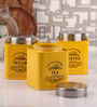 Dynore Half Deck Yellow Round 950 ML Tea, Coffee and Sugar Canister - Set of 3