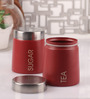 Dynore Barrel Maroon Round 900 ML Tea and Sugar Canister - Set of 2