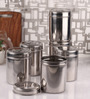 Dynore See Through Steel Round 1.5 L Storage Canister - Set of 6