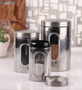 Dynore Silver Stainless Steel Canister with Window - Set of 3