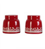 Dynore Pyramid Red Stainless Steel Round 1.0 L Tea and Sugar Canister - Set of 2