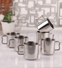Dynore Silver Steel 250 ML Cappuccino Mug - Set of 6