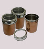 Dynore Copper Round 1000 ML Canisters with See Through Lid - Set of 3