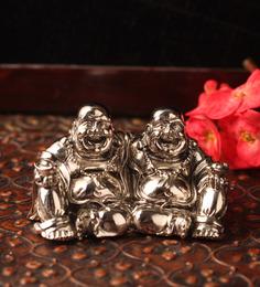E-Studio Multicolor Metal Feng Shui Twin Happy Man Showpiece