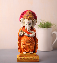 Earth Orange Polyresin Ganesha Statue