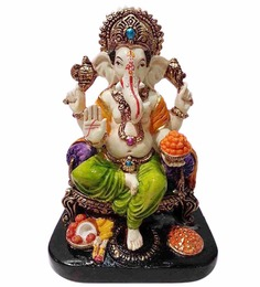 Earth Multicolour Polyresin Ganesha with Modak Statue