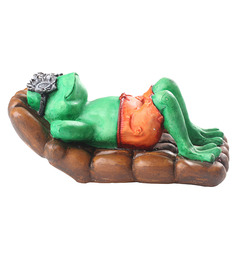 Earth Green Polyresin Sleeping Frog Showpiece