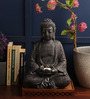 Earth Black Polyresin Buddha Statue with Tealight Holder